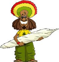 Rastaman with a large marijuana cigarette vector