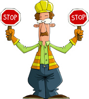 Road worker on a white background, vector illustration