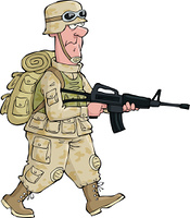 A soldier on an isolated background vector illustration
