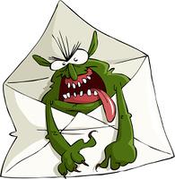 Cartoon spam in the envelope, vector illustration