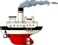 Steamer on a white background, vector illustration
