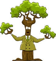 The tree in the yellow suit, vector illustration