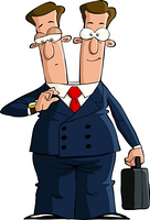 Cartoon businessman with two heads, vector illustration