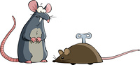 Two mouse on a white background, vector