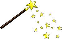 Cartoon magic wand with stars, vector illustration
