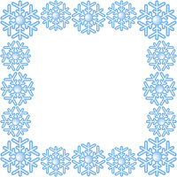 Blue frame with   abstract snowflake.
