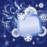 Christmas background with  snowflakes and frame