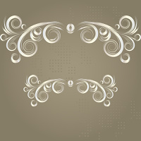 Vintage grunge frame with white swirl  on a brown background
