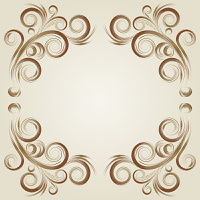 Vintage grunge frame with brown swirl  on a beige background