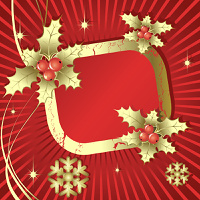 Christmas  frame with  snowflakes and berrie