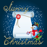Christmas blue background with snowman and paper