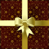 Gold christmas bow on a brown background