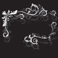 Vintage grunge frame with swirl  on a black background