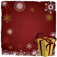 Christmas  background with  snowflakes and gift