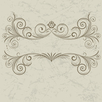 Vintage frame with swirl  on a beige background