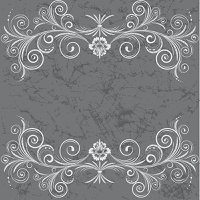Vintage frame with swirl  on a grey background