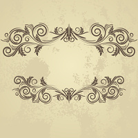 Vintage grunge frame with swirl  on a beige background