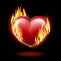 Heart on fire on a black background . EPS10. Mesh.