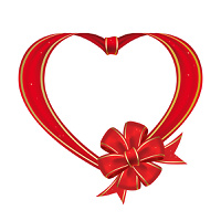 Heart with bow from red ribbon  on a white background