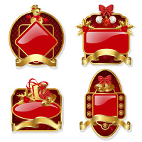 Set from red christmas labels with gold frame