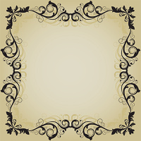 Vintage frame with abstract leaves beige background