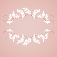 Vintage frame with abstract white leaves on a pink background