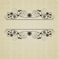 Vintage frame with abstract flowers and curls on a beige background