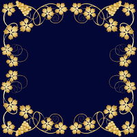 Vintage frame with abstract grapevine on a dark blue background