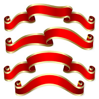 Set from four red banners from ribbon