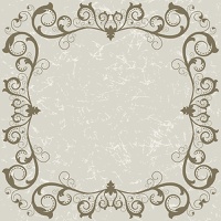 Vintage grunge frame with swirl  on a grey background