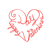 calligraphic text happy valentine's day from the heart shape