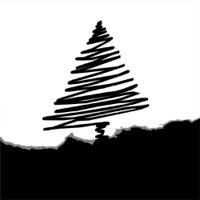 vector christmas tree,  black, white