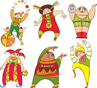 Set of cheerful circus actors in bright suits on it is white a background