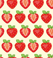 Seamless vector background with an appetizing strawberry on a yellow background