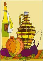 Still-life with bottles, a pumpkin and a beet