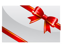 Red bow on a white card or envelop