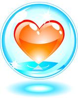 Orange heart in a bubble