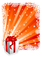 Christmas background with gift box. Vector