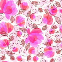 Seamless ornate decorative floral pattern with pink flowers