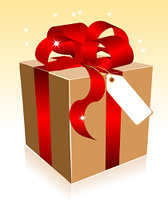 Beige gift box with red a bow