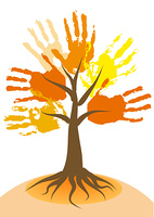 Autumn tree with leaves made from hand imprints