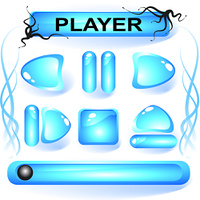 Set of blue glass buttons for media player