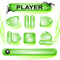 Set of green glass buttons for media player