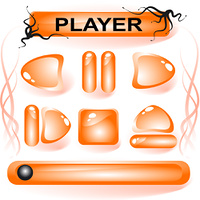 Set of orange glass buttons for media player