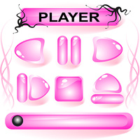 Set of pink glass buttons for media player