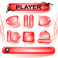 Set of red glass buttons for media player