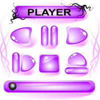 Set of violet glass buttons for media player