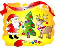 Santa decorates christmas tree