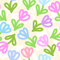 Seamless cute floral pattern with simple flowers