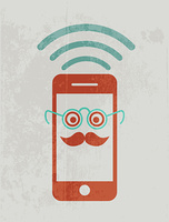 Mobile phone wearing glasses. Geek concept.